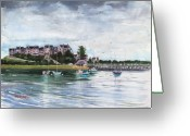Stormy Skies Greeting Cards - Spinnaker Island Greeting Card by Laura Lee Zanghetti