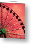 Ferris Wheels Greeting Cards - Spinning Wheel  Greeting Card by Karen Wiles
