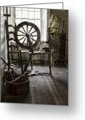 Wicker Chair Greeting Cards - Spinning Wheel Greeting Card by Peter Chilelli