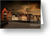 Gabled Greeting Cards - Spinolarei at dusk Bruges Greeting Card by Louise Heusinkveld