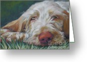 L.a.shepard Greeting Cards - Spinone Italiano Orange Greeting Card by Lee Ann Shepard