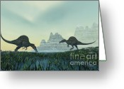 Wondrous Digital Art Greeting Cards - Spinosaurus Greeting Card by Corey Ford