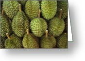 Durian Greeting Cards - Spiny Green Durian Fruit Sold Greeting Card by Todd Gipstein