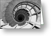 Staircase Greeting Cards - Spiral Staircase at the Arc Greeting Card by Donna Corless