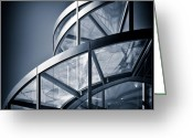 Metal Greeting Cards - Spiral Staircase Greeting Card by David Bowman