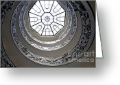 Heritage Greeting Cards - Spiral staircase in the Vatican Museums Greeting Card by Bernard Jaubert