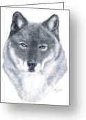 Wolves Drawings Greeting Cards - Spirit Guide Greeting Card by Joette Snyder
