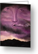 Purple Sky Greeting Cards - Spirit in the Clouds Greeting Card by Leah Saulnier The Painting Maniac