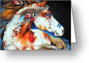 Feathers Greeting Cards - Spirit Indian War Horse Greeting Card by Marcia Baldwin