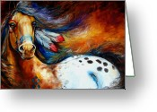 Feathers Greeting Cards - Spirit Indian Warrior Pony Greeting Card by Marcia Baldwin