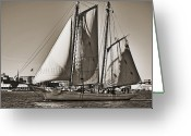 Historic Greeting Cards - Spirit of South Carolina Schooner Sailboat Sepia Toned Greeting Card by Dustin K Ryan