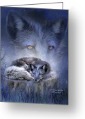 Animal Art Giclee Mixed Media Greeting Cards - Spirit Of The Blue Fox Greeting Card by Carol Cavalaris
