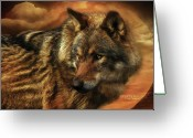 Animal Art Giclee Mixed Media Greeting Cards - Spirit Of The Golden Moon Greeting Card by Carol Cavalaris