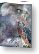 Animal Art Giclee Mixed Media Greeting Cards - Spirit Of The Hawk Greeting Card by Carol Cavalaris