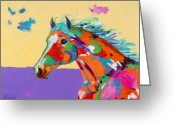 Running Horse Painting Greeting Cards - Spirit of the Plains Greeting Card by Tracy Miller