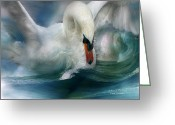 Animal Art Giclee Mixed Media Greeting Cards - Spirit Of The Swan Greeting Card by Carol Cavalaris