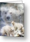 Messenger Greeting Cards - Spirit Of The White Bears Greeting Card by Carol Cavalaris
