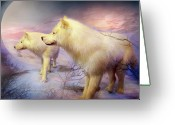 Wolves Mixed Media Greeting Cards - Spirit Of The White Wolf Greeting Card by Carol Cavalaris
