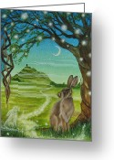 Tor Painting Greeting Cards - Spirit Path to Avalon Greeting Card by Lisa OMalley