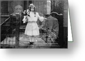 Holding Flower Greeting Cards - SPIRIT PHOTOGRAPH, c1905 Greeting Card by Granger