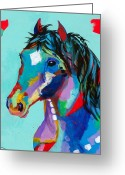 Wild Horse Painting Greeting Cards - Spirited Greeting Card by Tracy Miller