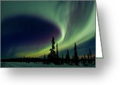Aurora Borealis Greeting Cards - Spirits Flight Greeting Card by Ed Boudreau