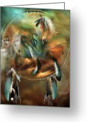 Horses Art Print Greeting Cards - Spirits Of Freedom Greeting Card by Carol Cavalaris