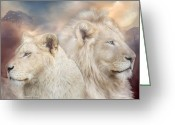 Big Cat Greeting Cards - Spirits Of Light Greeting Card by Carol Cavalaris