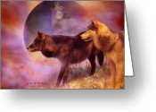 Animal Art Giclee Mixed Media Greeting Cards - Spirits Of The Moon Greeting Card by Carol Cavalaris