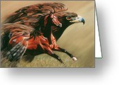 Horses Pastels Greeting Cards - Spirits Take Flight Greeting Card by Kim McElroy