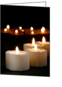 Candles Greeting Cards - Spiritual Reflection Candles Greeting Card by Olivier Le Queinec