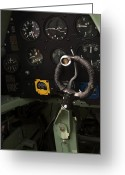 War Plane Greeting Cards - Spitfire Cockpit Greeting Card by Adam Romanowicz