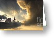 Stormy Sky Greeting Cards - Spitfire Greeting Card by Meirion Matthias