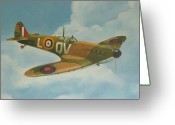 Fighters Painting Greeting Cards - Spitfire Mk1a Greeting Card by Murray McLeod