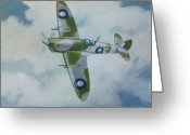Murray Mcleod Greeting Cards - Spitfire Mk.VIII Greeting Card by Murray McLeod