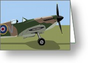Vintage Aircraft Greeting Cards - Spitfire WW2 Fighter Greeting Card by Michael Tompsett