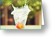 Drinking Water Greeting Cards - Splash! Greeting Card by Elvira Boix Photography