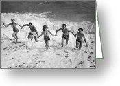 Human Interest Greeting Cards - Splashing In The Surf Greeting Card by Fpg