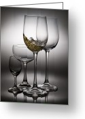 Splashing Greeting Cards - Splashing Wine In Wine Glasses Greeting Card by Setsiri Silapasuwanchai