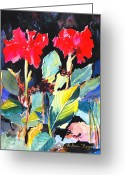 Canna Greeting Cards - Splashy Greeting Card by M Diane Bonaparte