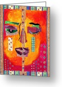 Diane Fine Mixed Media Greeting Cards - Split Personality Greeting Card by Diane Fine