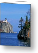Lichen Greeting Cards - Split Rock Lighthouse - FS000120 Greeting Card by Daniel Dempster