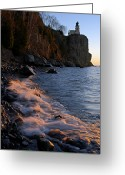 North Shore Greeting Cards - Split Rock Lighthouse at Dawn Greeting Card by Larry Ricker