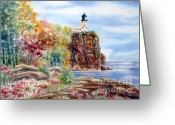 Deb Ronglien Watercolor Greeting Cards - Split Rock Lighthouse Greeting Card by Deborah Ronglien