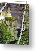 Trees And Rock Cliffs Greeting Cards - Split Rock Lighthouse Greeting Card by James Lyman