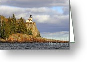 North Shore Greeting Cards - Split Rock Lighthouse Greeting Card by Steve Sturgill
