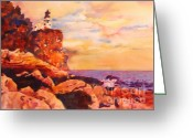 Wet In Wet Watercolor Greeting Cards - Split Rocks Golden Memories       Greeting Card by Kathy Braud
