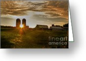 Silo Greeting Cards - Split Silo Sunset Greeting Card by Benanne Stiens
