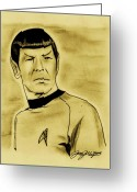 Science Fiction Drawings Greeting Cards - Spock Greeting Card by Jason Kasper