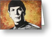 Star Ceramics Greeting Cards - Spock One Up Greeting Card by Eric Dee